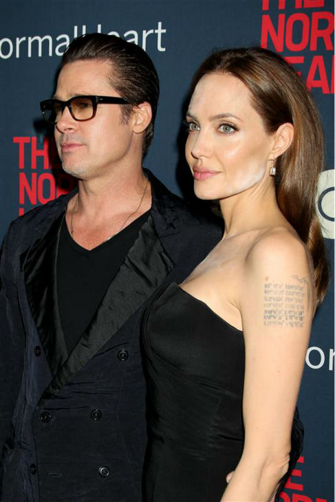 "<div class=""meta ""><span class=""caption-text "">Angelina Jolie and Brad Pitt appear at the premiere of the HBO film 'The Normal Heart' in New York on May 12, 2014. (Dave Allocca / Startraksphoto.com)</span></div>"