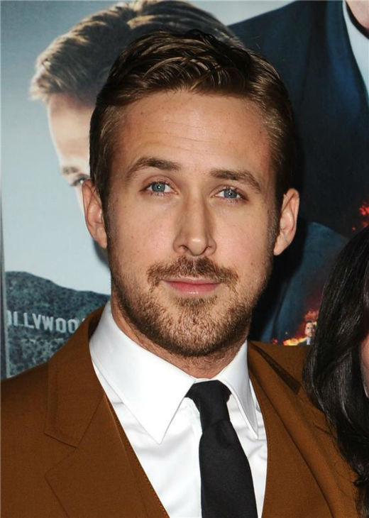 The 'No-One-Makes-Burnt-Orange-Look-Better- stare: Ryan Gosling appears at the premiere of 'Gangster Squad' in Hollywood, California on Jan. 7, 2013.