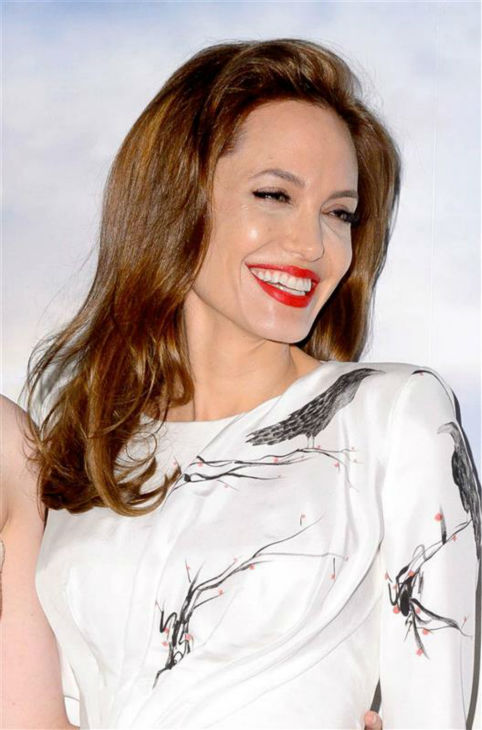 Angelina Jolie appears at a photo call for &#39;Maleficent&#39; in London on May 9, 2014. She is wearing a raven-print dress by Atelier Versace. <span class=meta>(Richard Young &#47; REX &#47; Startraksphoto.com)</span>