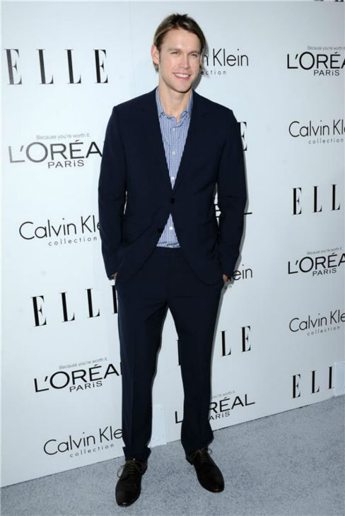 Chrod Overstreet of 'Glee' attends ELLE's 20th Annual Women In Hollywood gala in Beverly Hills, California on Oct. 21, 2013.