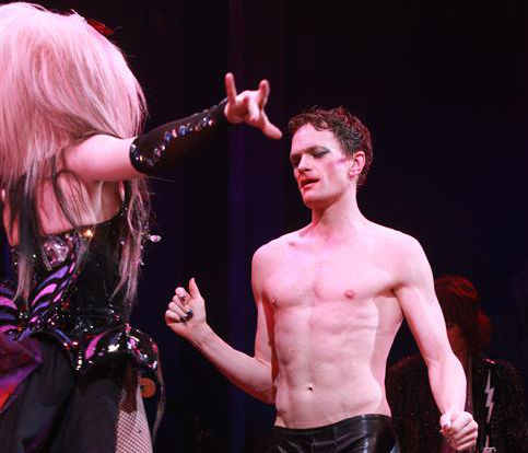Neil Patrick Harris appears on stage during opening night of the rock musical 'Hedwig and the Angry Itch' on Broadway in New York on April 22, 2014.