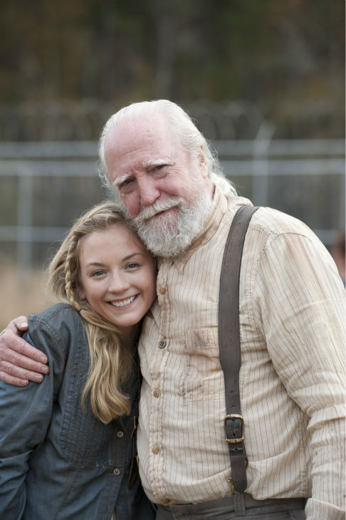 "<div class=""meta image-caption""><div class=""origin-logo origin-image ""><span></span></div><span class=""caption-text"">Emily Kinney (Beth Greene) and Scott Wilson (Hershel Greene) appear on the prison set of AMC's 'The Walking Dead' season 4 finale, which aired on March 30, 2014. (Gene Page / AMC)</span></div>"