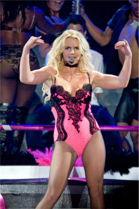 Britney Spears performs a concert in Paris, France as part of her Femme Fatale tour on Oct. 6, 2011.