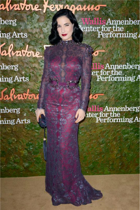 Dita Von Teese attends the Wallis Annenberg Center for the Performing Arts Inaugural Gala, presented by Salvatore Ferragamo, at the Wallis Annenberg Center in Beverly Hills on Oct. 17, 2013. <span class=meta>(Lionel Hahn &#47; AbacaUSA &#47; Startraksphoto.com)</span>