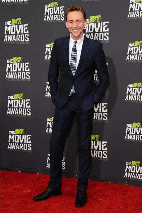 Tom Hiddleston attends the 2013 MTV Movie Awards in Culver City, California on April 14, 2013.