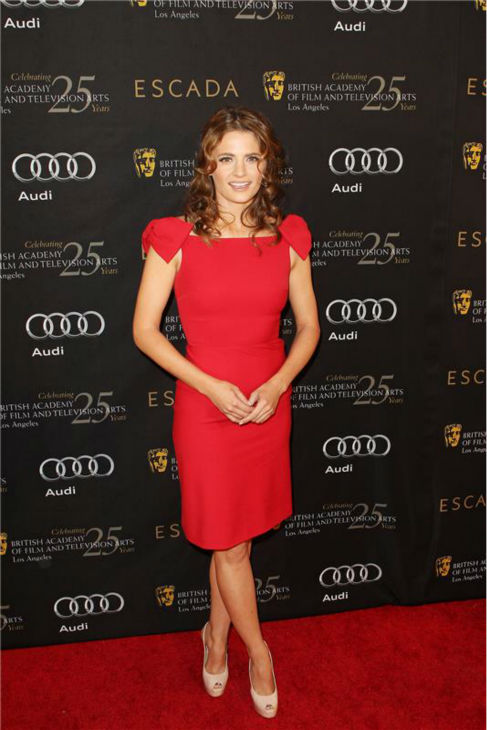 "<div class=""meta image-caption""><div class=""origin-logo origin-image ""><span></span></div><span class=""caption-text"">Stana Katic of 'Castle' attends BAFTA's 18th annual award season tea party in Los Angeles on Jan. 14, 2012. (Erik Jordan / Startraksphoto.com)</span></div>"
