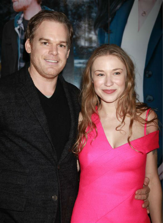 Michael C. Hall of &#39;Dexter&#39; fame and girlfriend Morgan MacGregor attend the opening night of the new Broadway musical &#39;If&#47;Then&#39; at the Richard Rodgers Theatre in New York on March 30, 2014. <span class=meta>(Adam Nemser &#47; Startraksphoto.com)</span>