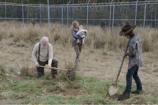 Hershel Greene &#40;Scott Wilson&#41;, Beth Greene &#40;Emily Kinney&#41; and Carl Grimes &#40;Chandler Riggs&#41; appear near the prison in this scene from AMC&#39;s &#39;The Walking Dead&#39; season 4 finale, which aired on March 30, 2014. <span class=meta>(Gene Page &#47; AMC)</span>