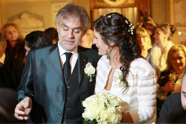 Andrea Bocelli and longtime partner Veronica Berti appear at their wedding at the Sanctuary of Montenero in Italy on March 21, 2014. This marks the second marriage for the famed Italian tenor. He and Berti are parents to a daughter, who celebrated her second birthday on their wedding day, and he also has two sons from a previous marriage. <span class=meta>(Masjordan Image &#47; Abaca &#47; Startraksphoto.com)</span>