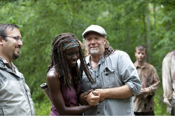 "<div class=""meta ""><span class=""caption-text "">Danai Gurira (Michonne) and Co-Executive Producer/SFX Makeup Supervisor Greg Nicotero appear on the set of AMC's 'The Walking Dead' while filming episode 3 of season 4, titled 'Isolation,' which aired on Oct. 27, 2013.  (Gene Page / AMC)</span></div>"