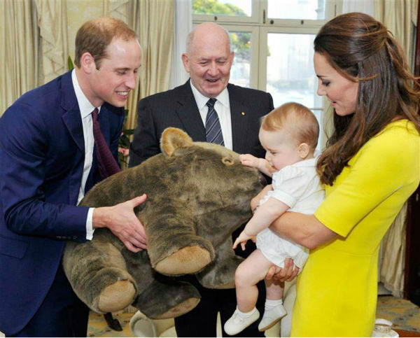 Baby Prince George receives a gift of a toy wombat from the Governor-General of Australia, Peter Cosgrove, during parents Kate Middleton, aka Catherine, Duchess of Cambridge, and husband Prince William&#39;s visit to Sydney -- a stop on of their Royal Tour. <span class=meta>(Rex Features &#47; Startraksphoto.com)</span>