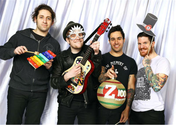 The members of the band Fall Out Boy pose in a holiday-themed photo booth at Z100&#39;s Jingle Ball 2013 on Dec. 13, 2013, just before Christmas. <span class=meta>(Sara Jaye Weiss  &#47; Startraksphoto.com)</span>