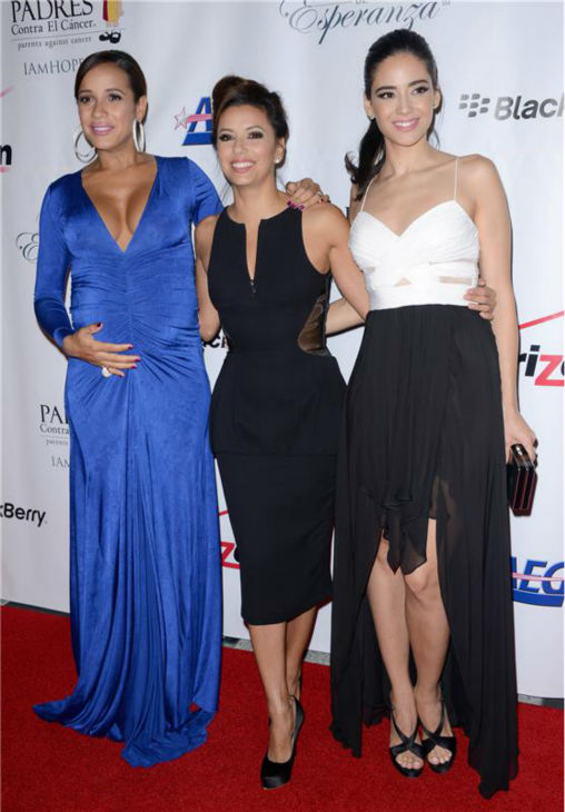 A pregnant Dania Ramirez of Lifetime Television&#39;s &#39;Devious Maids,&#39; Eva Longoria -- a co-producer of the show, and co-star Edy Ganem pose at the El Sueno De Esperanza gala, hosted by PADRES Contra El Cancer, at Club Nokia in Los Angeles on Sept. 24, 2013. Ramirez announced in July that she and her husband, director director John Amos Beverly &#39;Bev&#39; Land, are expecting twins. <span class=meta>(Lionel Hahn &#47; AbacaUSA &#47; Startraksphoto.com)</span>
