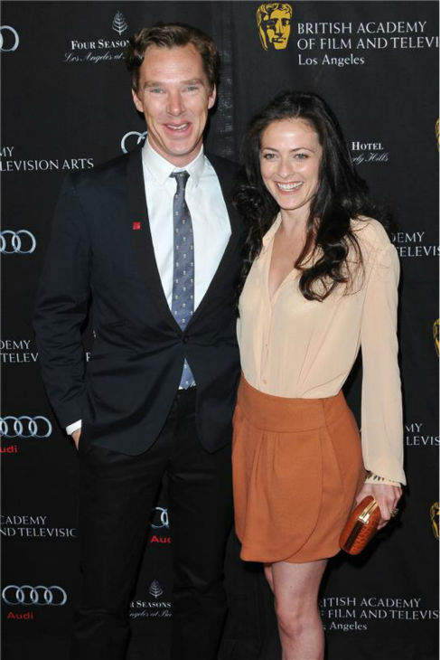 Benedict Cumberbatch and &#39;Sherlock&#39; co-star Lara Pulver appear at the 2013 BAFTA Los Angeles tea party on Jan. 12, 2013. <span class=meta>(Tony DiMaio &#47; Startraksphoto.com)</span>