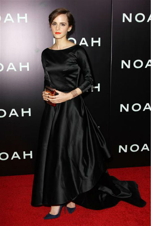 Emma Watson appears at the premiere of &#39;Noah&#39; in New York on March 26, 2014. The actress, who is wearing a black, satin Oscar de la Renta Fall 2014 gown, plays Ila, the wife of Noah&#39;s eldest son, Shem, in Darren Aronofsky&#39;s movie. <span class=meta>(Kristina Bumphrey &#47; Startraksphoto.com)</span>