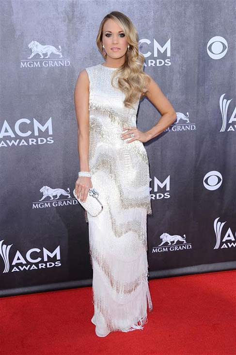 Carrie Underwood appears at the 49th annual Academy of Country Music (ACM) Awards in Las Vegas on April 6, 2014.