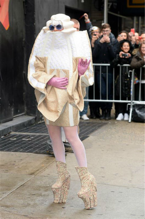 "<div class=""meta image-caption""><div class=""origin-logo origin-image ""><span></span></div><span class=""caption-text"">Lady Gaga arrives at the Roseland Ballroom for her concert, wearing a white puffy costume with giant platform shoes on her 28th birthday on March 28, 2014. (247paps.tv / Startraksphoto.com)</span></div>"