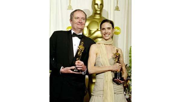 Jim Broadbent, who received the Best Supporting Actor Academy Award for his performance in 'Iris', poses along with Jennifer Connelly who won the Best Supporting Actress Academy Award at the 74th Annual Academy Awards, Sunday March 24, 2002.