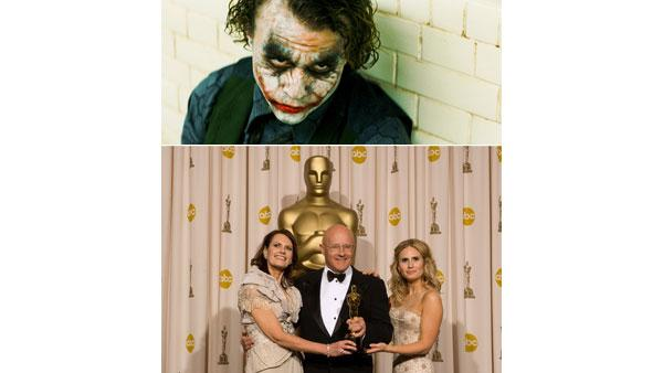 Top: Performance by an actor in a supporting role, Heath Ledger in 'The Dark Knight' / Bottom: Sally Ledger, Kim Ledger and Kate Ledger accept the award on behalf of Heath Ledger.'