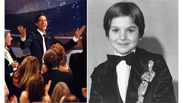 Left: Adrien Brody, Actor in a Leading Role, 'The Pianist'. Right: Tatum O'Neal holds her Oscar statuette at the 46th Annual Academy Awards in Los Angeles on April 2, 1974.