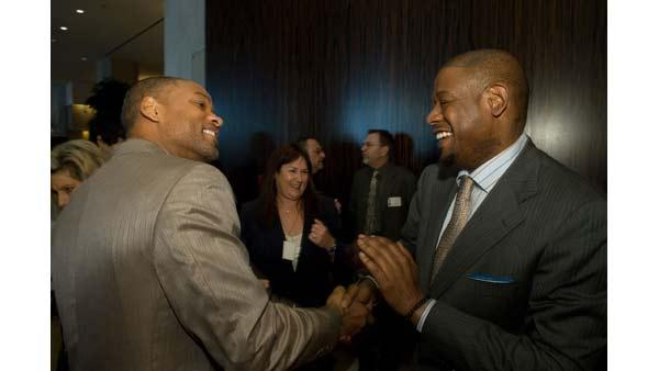 Best Actor nominees Will Smith (left) and Forest Whitaker, along with over 140 Oscar nominees, attend the Academy of Motion Picture Arts and Sciences' Oscar Nominees Luncheon at The Beverly Hilton in Beverly Hills, California, Monday, February 5, 2007.