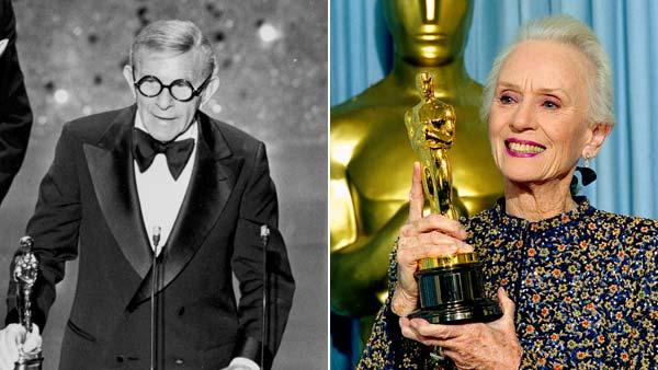 Left, George Burns gives his acceptance speech after being awarded an Oscar for 'Best Supporting Actor' for his role in 'The Sunshine Boys' in 1976. Right, Jessica Tandy holds up her Oscar for her supporting role in 'Driving Miss Daisy' in 1990.