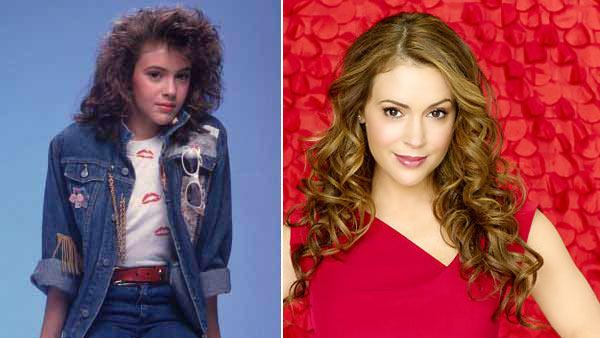 (Pictured: Alyssa Milano in a promotional photo for 'Who's the Boss.' / Alyssa Milano in a promotional photo for 'Romantically Challenged.'))