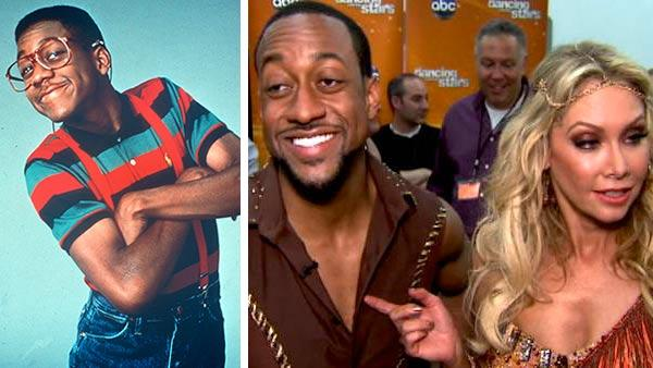 Jaleel White appears as Steve Urkel in 'Family Matters,' which aired between 1989 and 1998. / Jaleel White and 'Dancing With The Stars' partner Kym Johnson talk to OTRC.com after week 5 of season 14 of the ABC show on April 16, 2012.