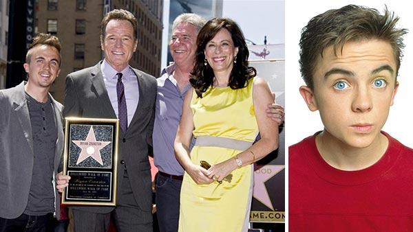 Frankie Muniz appears with former 'Malcolm in the Middle' co-stars Bryan Cranston and Jane Kaczmarek at Cranston's Hollywood Walk of Fame star ceremony on July 16, 2013. / Frankie Muniz appears in a promotional photo for 'Malcolm in the Middle.'