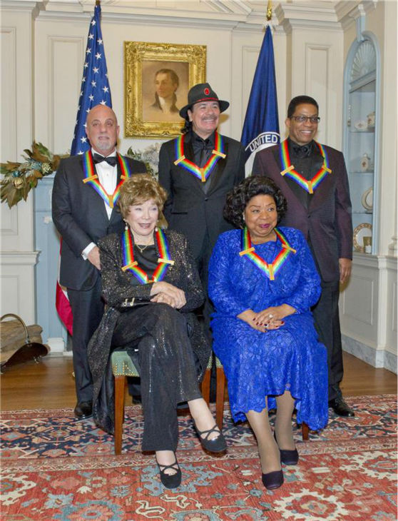 "<div class=""meta image-caption""><div class=""origin-logo origin-image ""><span></span></div><span class=""caption-text"">The 2013 Kennedy Center honorees -- opera singer Martina Arroyo; pianist,  keyboardist, bandleader and composer Herbie Hancock; pianist, singer and songwriter Billy Joel; actress Shirley MacLaine; and musician and songwriter Carlos Santana -- attend a gala in their honor in Washington, D.C. on Dec. 8, 2013. (Ron Sachs / Startraksphoto.com)</span></div>"