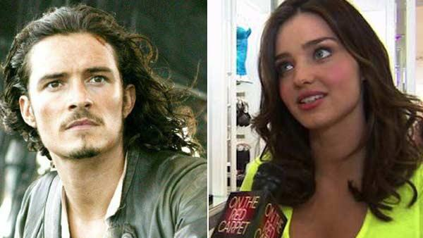 Orlando Bloom appears in a scene from the 2003 movie Pirates of the Caribbean: The Curse of the Black Pearl. / Miranda Kerr speaks to OnTheRedCarpet.com in June 2010. - Provided courtesy of Walt Disney Company / OTRC