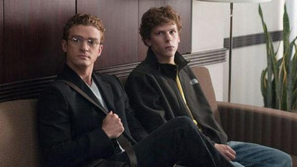 Justin Timberlake and Jesse Eisenberg appear in a scene from The Social Network. - Provided courtesy of Photo courtesy of Columbia Pictures / Relativity Media