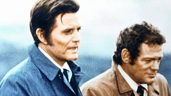 Jack Lord, left, as McGarrett and James MacArthur as Danno in a scene from 'Hawaii Five-0'.
