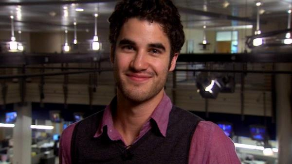 Glee star Darren Criss dishes on his new openly gay role on the show, whether or not hes a love interest for Kurt, played by Chris Colfer. - Provided courtesy of KABC