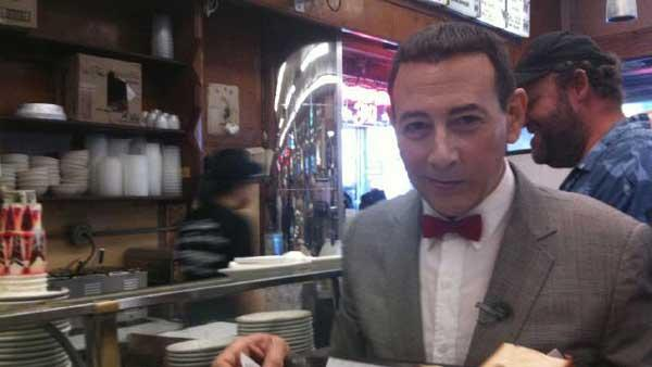 Pee-wee Herman in Littly Italy, on a subway and at Katz Deli in Ne York City on Oct. 7, 2010. - Provided courtesy of Photos courtesy of twitter.com/PEEWEEHERMAN