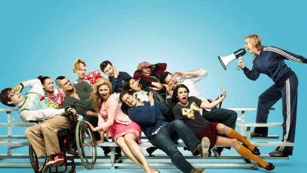 L-R: Kevin McHale, Naya Rivera, Mark Salling, Jenna Ushkowitz, Dianna Agron, Lea Michele and Jane Lynch. Middle row L-R: Jessalyn Gilsig, Jayma Mays, Matthew Morrison and Cory Monteith. Top row L-R: Heather Morris, Chris Colfer and Amber Riley. - Provided courtesy of  Patrick Ecclesine/FOX