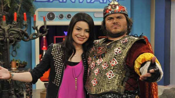Jack Black and Miranda Cosgrove star in the iCarly TV movie iStart A Fan War, which airs Friday, Nov. 19, 2010. - Provided courtesy of Lisa Rose / Nickelodeon / Viacom International