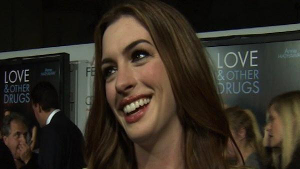 Anne Hathaway talks to OnTheRedCarpet.com about buying fluorescent bras for her Love and Other Drugs character at the premiere for the film in November 2010. - Provided courtesy of KABC
