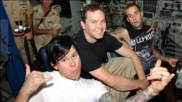 Blink-182 members Mark Hoppus, Tom DeLonge and Travis Barker appear in an undated photo posted on the bands MySpace page. - Provided courtesy of myspace.com/blink182