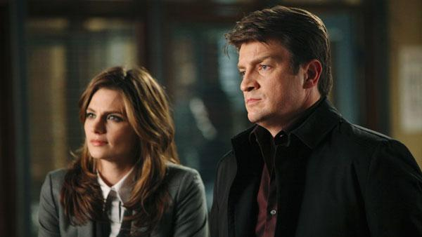 Stana Katic and Nathan Fillion in a promotional still from the Last Call episode of Castle. - Provided courtesy of ABC / Adam Larkey