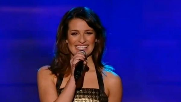 Lea Michele appears with Glee cast members on The X Factor in the UK on Dec. 5, 2010. - Provided courtesy of Fremantle Media / ITV