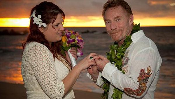Danny Bonaduce of the 1970s series The Partridge Family and third wife Amy Railsback appear at their Nov. 22, 2010 wedding in Maui, Hawaii. - Provided courtesy of dannybonaduce.net