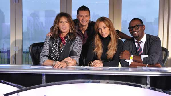 Steven Tyler, Ryan Seacrest, Jennifer Lopez and Randy Jackson in a promotional still from American Idols 10th season. - Provided courtesy of Fox / Michael becker