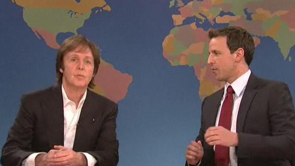 Paul McCartney appears with Seth Meyers on Saturday Night Live on Dec. 11, 2010. - Provided courtesy of NBC