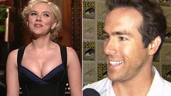 Scarlett Johansson appears on 'Saturday Night Live' on Nov. 13, 2010. / Ryan Reynolds  at Comic-Con 2010 in San Diego, California on July 26, 2010.