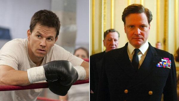 Mark Wahlberg appears in a scene from the 2010 movie The Fighter. (Left) / Colin Firth appears in a scene from the 2010 movie The Kings Speech. (Right) - Provided courtesy of KABC