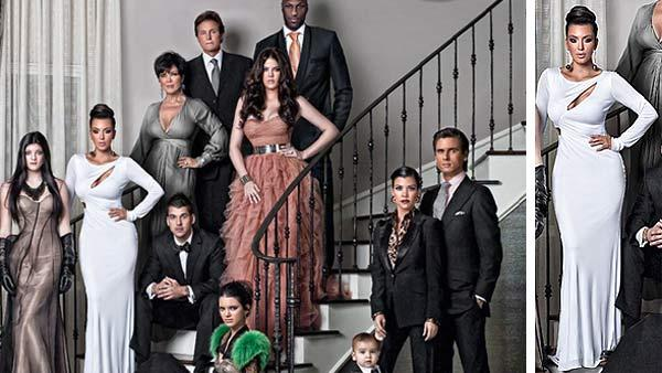 Kim Kardashian and her family appear on their 2010 Christmas card. - Provided courtesy of Nick Saglimbeni / kimkardashian.celebuzz.com