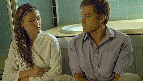 Julia Stiles and Michael C. Hall appear in a scene from Showtime series Dexter in 2010. - Provided courtesy of Showtime