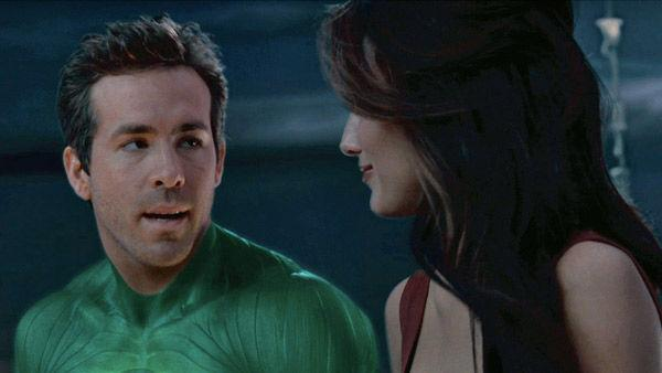 Ryan Reynolds as 'Hal Jordan' and Blake Lively as 'Carol Ferris' in a scene from the 2011  film, 'Green Lantern'.