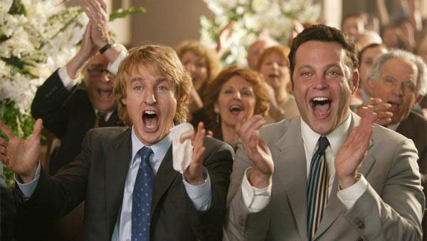 Vince Vaughn (right) appears in a scene from the 2005 movie 'Wedding Crashers' along wi